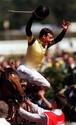 Jockey Steven King jumps off Saintly after victory in  Australia Cup